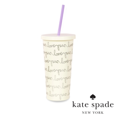 KATE SPADE 簡約手繪風冷飲隨行杯 附吸管 Love Script