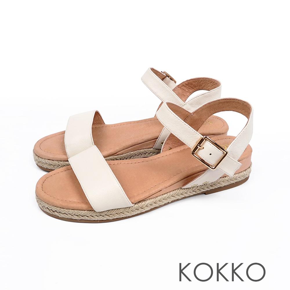KOKKO - 淚光閃閃全真皮草編一字楔形涼鞋-鮮奶白