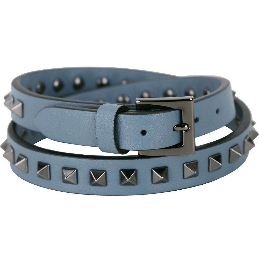 VALENTINO Rockstud 仿舊鉚釘雙繞小牛皮手環(灰藍色)