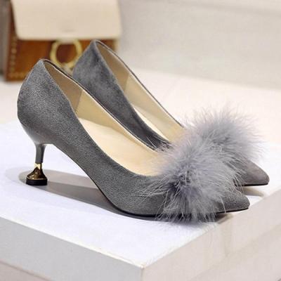 KEITH-WILL時尚鞋館 優雅經典百搭尖頭中跟鞋-灰色