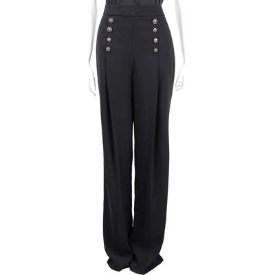 ELISABETTA FRANCHI 復古銅釦抓褶輕柔感黑色西裝褲