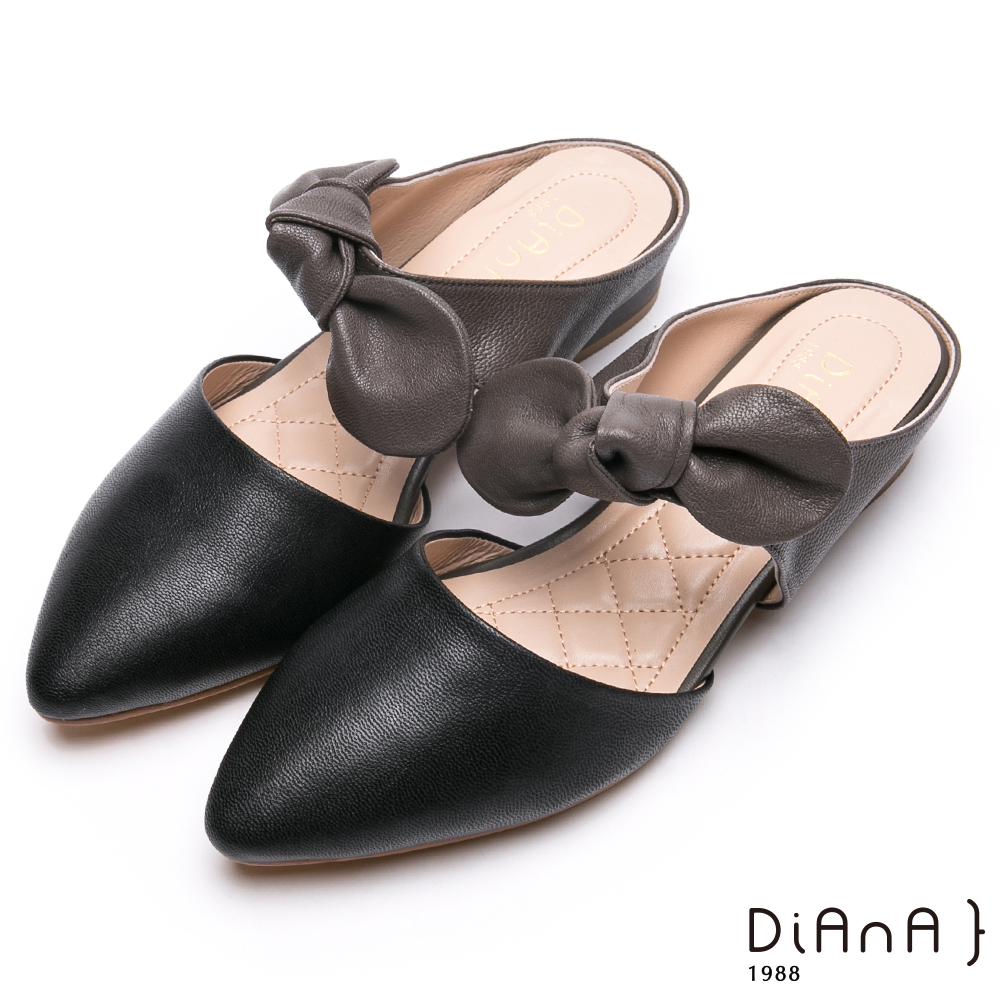DIANA真皮大蝴蝶結穆勒跟鞋-俏麗甜心-黑x灰色
