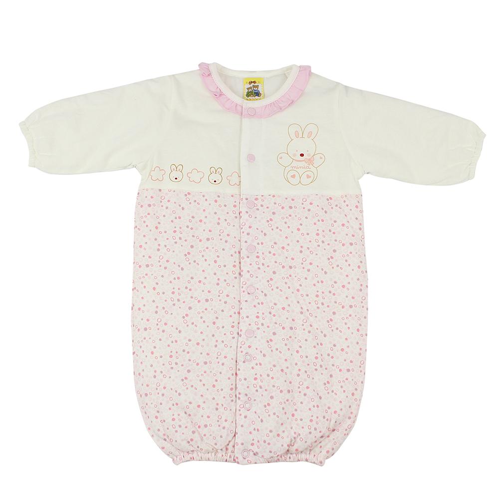 愛的世界 純棉小兔點點鋪棉長袖兩用嬰衣