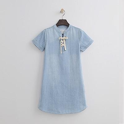 Hang Ten - 女裝 - 領口綁帶純色洋裝-淡藍色