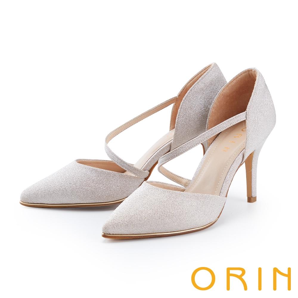 ORIN 斜帶側空後包尖頭花嫁 女 高跟鞋 粉金