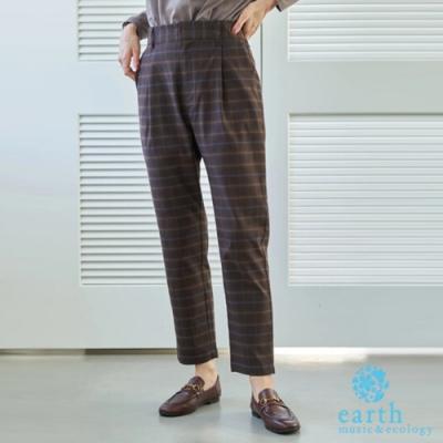 earth music 素面/格紋顯瘦打摺錐形褲