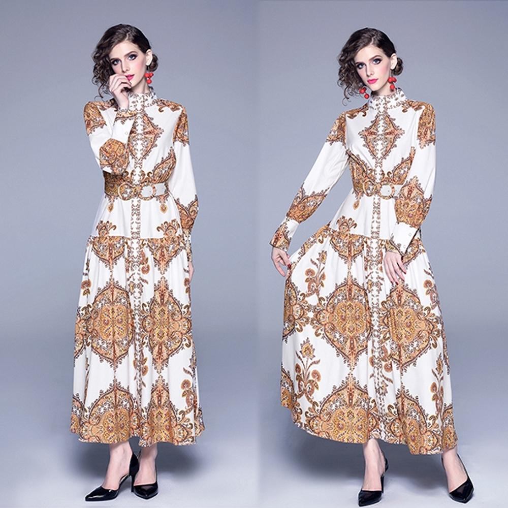 【KEITH-WILL】韓時尚復古印花修身洋裝-1色