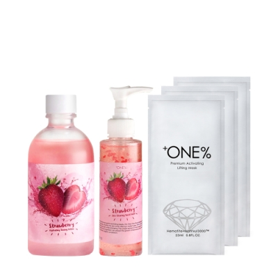 【歐恩伊】美莓保濕潔顏組-草莓保濕化妝水+草莓潔面膠+(即期品)黑鑽面膜1入*3