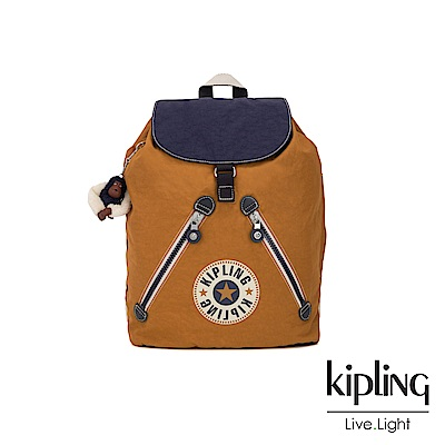Kipling 致敬經典復古棕褐抽繩束口後背包-FUNDAMENTAL