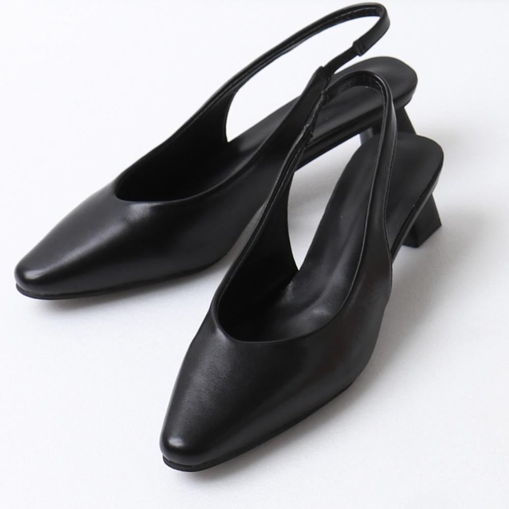 韓系質感法式細帶挖空高跟鞋-OB大尺碼