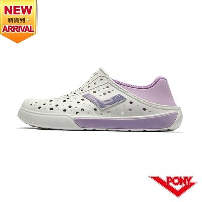 【PONY】ENJOY洞洞鞋 踩後跟 雨鞋 水鞋 中性款-基本色/白紫
