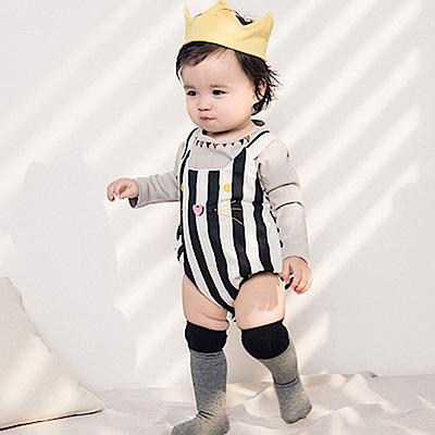 Baby unicorn 黑白條紋貓咪長袖上衣包屁衣組