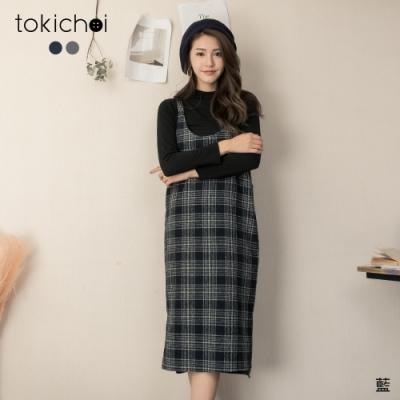 東京著衣 學院氣息兩件式高領針織格紋吊帶洋裝(共二色)