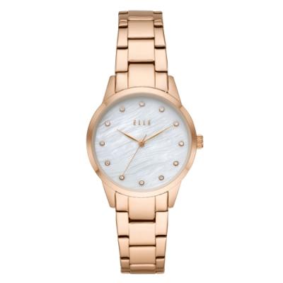 ELLE Molitor優雅時尚晶鑽貝殼面腕錶-玫瑰金X白(ELL25002)/33mm