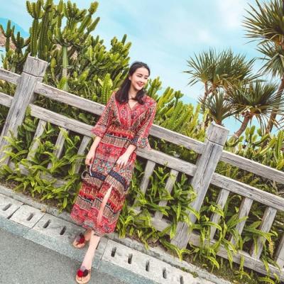 V領民族風圖騰印花高腰洋裝-S-XL(共二色)-維拉森林