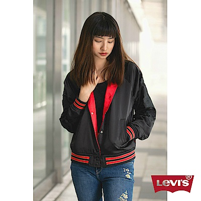 Levis 女裝 棒球外套 紅黑雙面穿