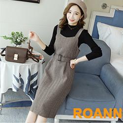 純色毛衣+斜條紋吊帶裙兩件套 (共二色)-ROANN