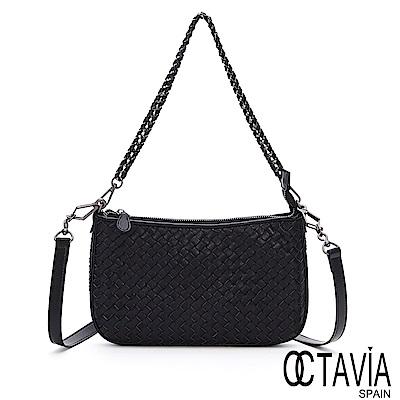 OCTAVIA 8 真皮 - 公主的秘密 編織羊皮扁型馬鞍肩斜二用包- 晶彩黑