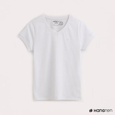 Hang Ten-有機棉-女裝全棉小LOGO素面V領T-白