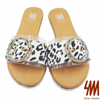 【SM】圓頭豹紋短毛一字帶雙環扣飾平底拖鞋
