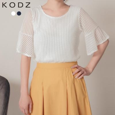 東京著衣-KODZ 微透性感立體壓紋網紗拼接喇叭袖雪紡上衣-S.M.L(共二色)