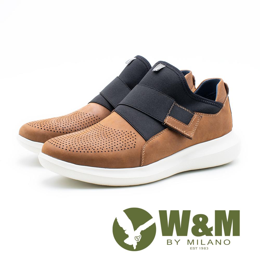 W&M 皮質彈性帶直套式運動休閒鞋 男鞋 - 棕(另有黑)