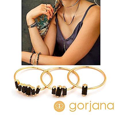 GORJANA 公主切割 黑色方鑽戒指 金色三環戒 Amara Ring