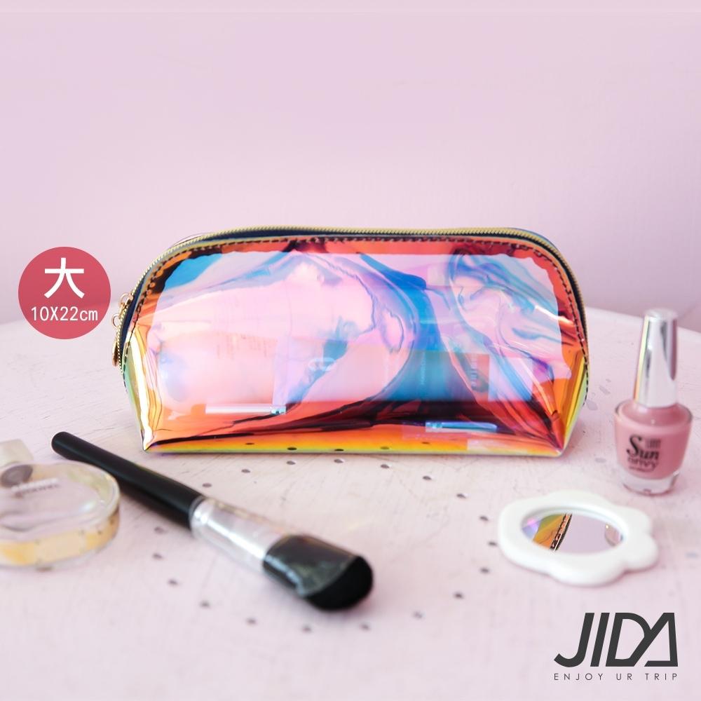 JIDA 網美款 雷彩TPU耐磨防水厚款半透盥洗包/化妝包(大) 22x10cm