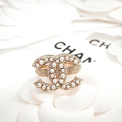 CHANEL 立體珍珠點綴水鑽戒指 #54/金色