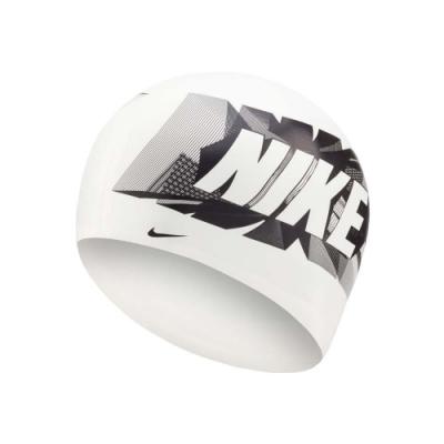 NIKE SWIM 成人矽膠泳帽-游泳 戲水 海邊 沙灘 NESSA204-100 白黑