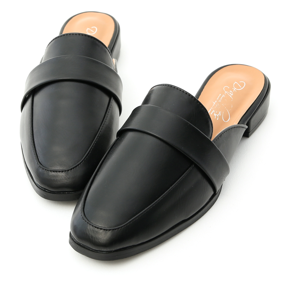 D+AF 質感生活.簡約設計方頭穆勒鞋*黑