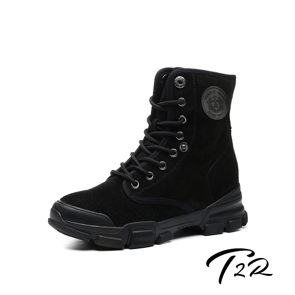 T2R-正韓空運-真皮女款真皮高筒短靴-隱形增高鞋-增高7公分-黑