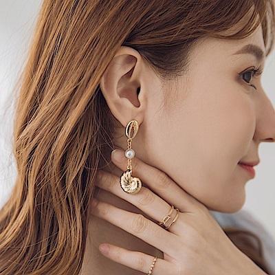 海螺貝殼珍珠垂墜耳針式耳環-OB大尺碼