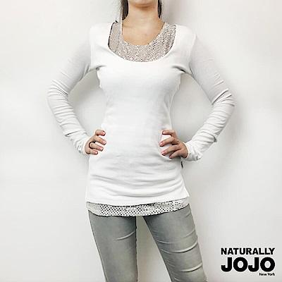 【NATURALLY JOJO】兩件式亮片棉上衣(白)