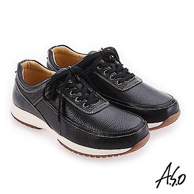 A.S.O 3D超動能 精緻做工簡約休閒鞋 黑