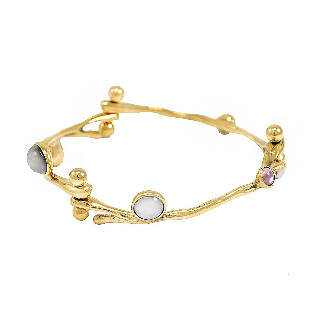 CHLOE 珠珠裝飾古典風造型手環(金)