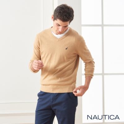 Nautica經典款素色長袖細針織衫-咖啡色