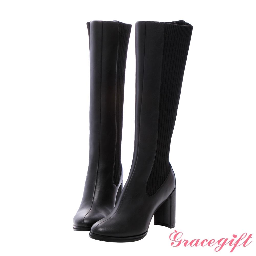 Grace gift X紀卜心-聯名拼接針織高跟長靴 黑