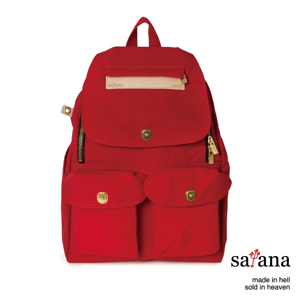 satana - 多功能拉鍊後背包 - 中國紅