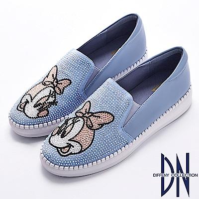 DN 經典童趣 真皮米妮滿鑽舒適休閒鞋-水藍
