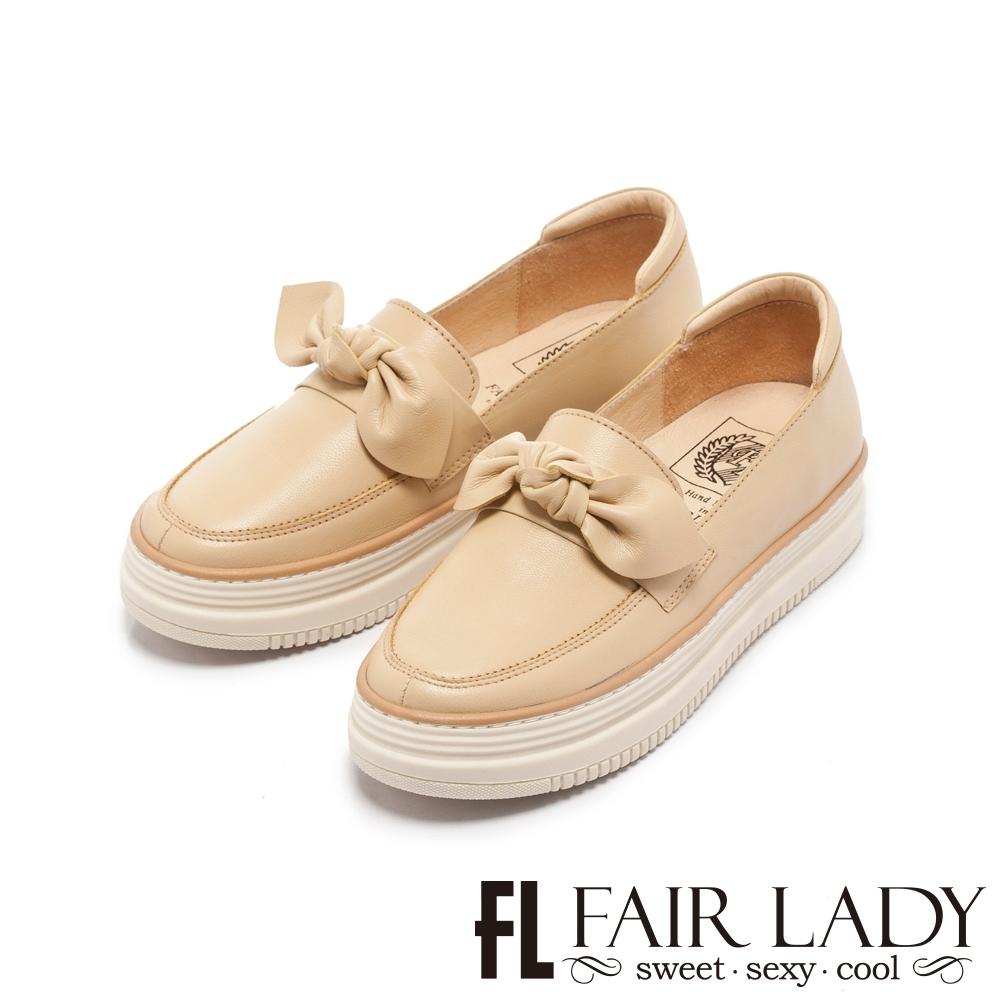 【FAIR LADY】Soft Power 軟實力 日系扭結樂福厚底休閒鞋 鵝黃