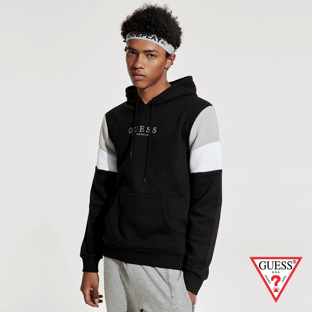 GUESS-男裝-美式撞色長袖帽T-黑 原價3090
