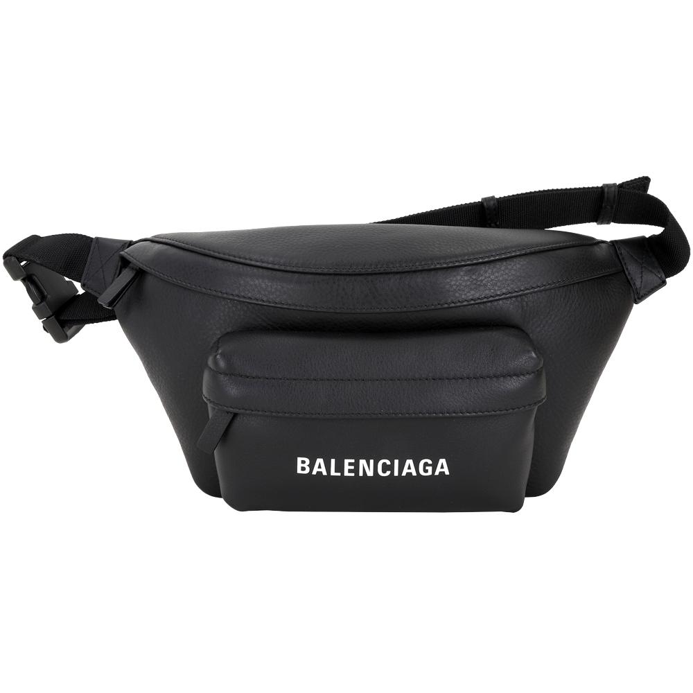 [時時樂限定] BALENCIAGA 品牌字母小牛皮腰包(黑色)(專櫃價$38800)
