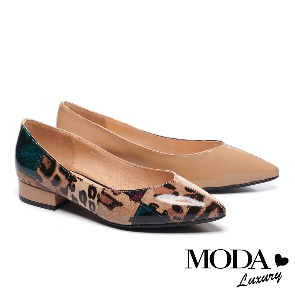 低跟鞋 MODA Luxury 時髦豹紋不對稱拼接軟漆牛皮尖頭低跟鞋-米