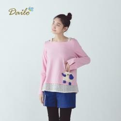 【Dailo】蕾絲拼接象鼻-上衣(粉色)