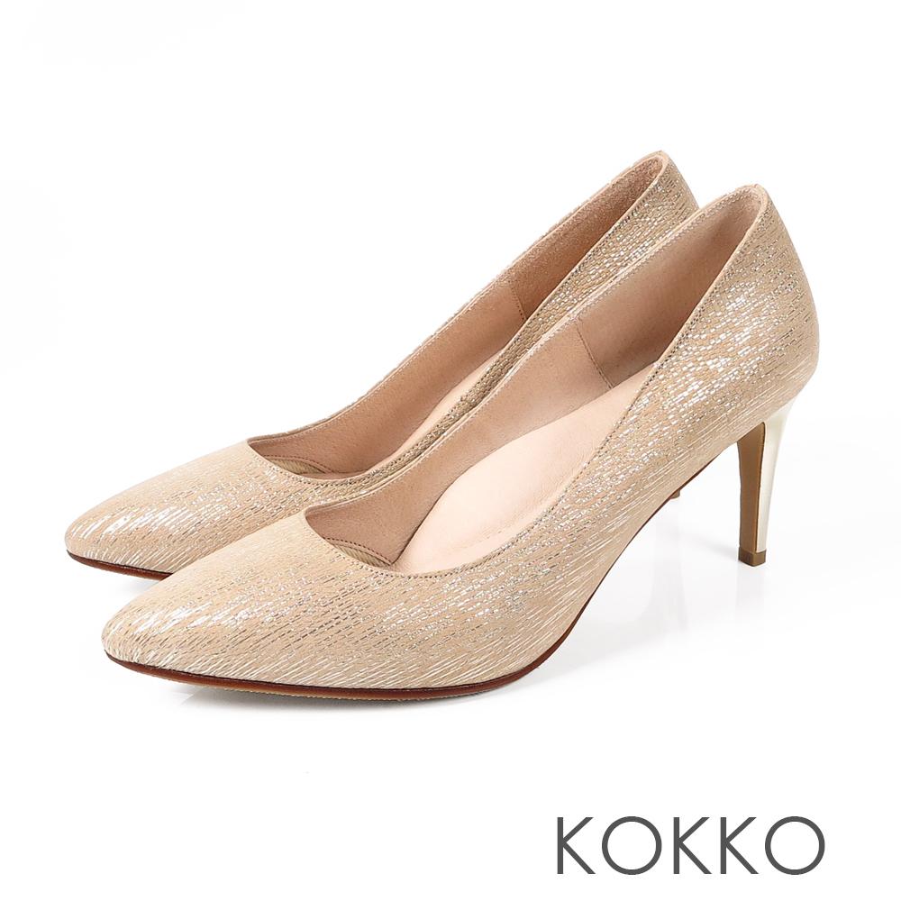 KOKKO皇后高貴品格真皮尖頭高跟鞋玫瑰金