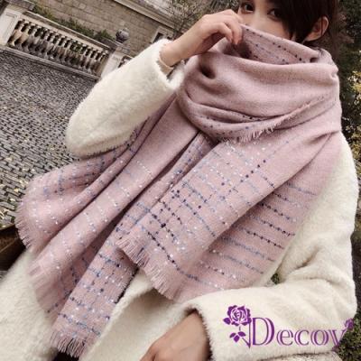 Decoy 點點純色 流蘇加大保暖披肩圍巾 粉
