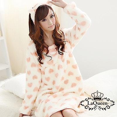 睡衣 甜美愛心親膚珊瑚絨睡袍 - 橘 La Queen