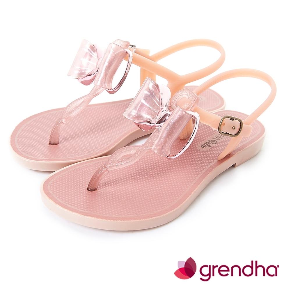 Grendha 金屬風夢幻蝴蝶結平底涼鞋-女童-玫瑰金