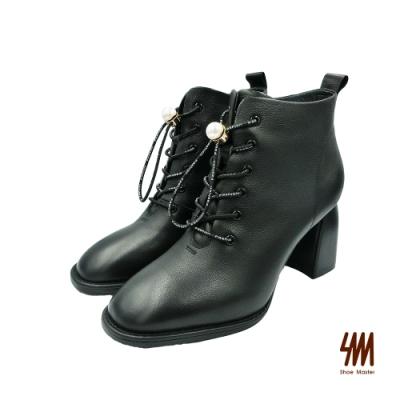 SM-Fashion珍珠鞋真皮高跟短靴-黑色 (兩色)